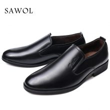 Men Casual Shoes Leather Winter Shoes Brand Men Leather Shoes Men Flats Men Sneakers Plush Slip on Plus Big Size 46 47 Sawol