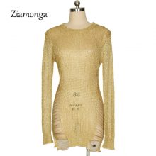Ziamonga Gold Metallic Knitted Shredded Sweater Dress Popular Stretch Sexy Ladder Cut-Out Metallic Sequins Dress Beach Wear