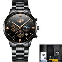 Luxury Brand Men Watches LIGE Chronograph Men Sports black Watches Waterproof Full Steel Quartz Men's Watch Relogio Masculino