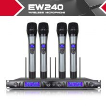 XTUGA EW240 4 Channel Wireless Microphones System UHF Karaoke System Cordless 4 handheld Mic for Stage Church Use for Party