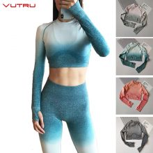 Vutru Yoga Shirts Women Ombre Crop Top High Stretchy Long Sleeve Fitness Shirt with Thumb Holes Seamless Gym Wear for Women