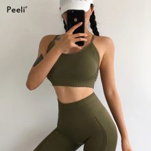 Peeli Energy Seamless Sports Bra High Impact Strappy Yoga Bras Padded Gym Brassiere Fitness Crop Tops Workout Push Up Sport Bh