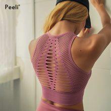 Peeli 2018 Seamless Sports Bra Top Fitness Women Racerback Running Crop Tops Pink Workout Padded Yoga Bra High Impact Activewear