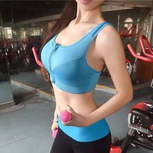 7 Color Fitness Yoga Push Up Sports Bra Women Gym Running Padded Tank Top Athletic Vest Underwear Shockproof Zipper Sports Bra