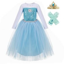 PaMaBa Children Princess Elsa Dress Girls Anna Coronation Clothing Set Gown Kids Birthday Party Cosplay Costume Baby Fille Robe