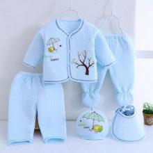 Bekamille 5pcs/set Autumn Winter Newborn sets Baby warm Cotton Girls Boys cartoon suits  infant kids clothing Good quality