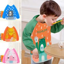 Baby Kids Toddler Waterproof Long Sleeve Burp Cloths Bibs EVA Apron Gown Cartoon animal Saliva shelter Feeding Smock Painting