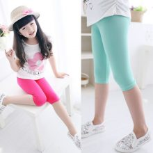 3-10years Girls Knee Length Kid Five Pants Candy Color Children Cropped Clothing Spring-Summer All-matches Bottoms Leggings