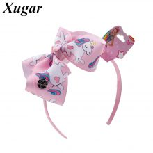 Rainbow Printed jojo Hair Bow Hairband For Girls Boutique Handmade Headbands Children Unicorn Ribbon Hair Accessories