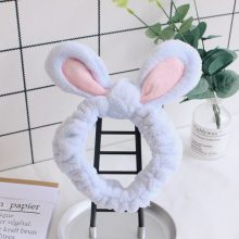 Cute Bunny Ear Makeup Headbands for Washing Face Shower Spa Mask Soft and Cute Rabbit Ear Hair Bands for Women and Girls HB022