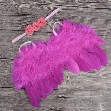 Nishine Newborn Angel Feather Wing With Rose Flower Headband Photography Props Kids Feather Wing Costume Photo Prop