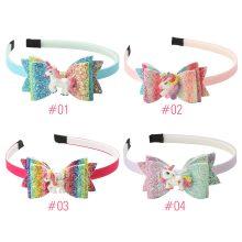 1 PC Unicorn Hairbands Rainbow Sequins  Glitter Bows Shining Swallowtail Headbands Hairbow Children Hair Bands Girls Headwear