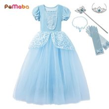 PaMaBa Girls Cinderella Princess Dresses Outfit Multi Layers Make-up Party Kids Homecoming Prom Robes Gown Cinderella Costumes