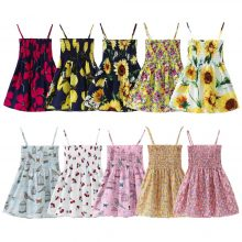 1-7 Years Kids Girl Dress Sumemr Toddler Girls Sleeveless Dresses Children Clothes Baby Cotton Printed Flower Princess Dress