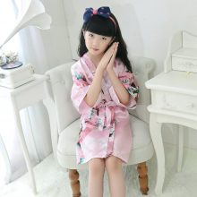 Kids Robe Satin Children summer Kimono Bath Robes Bridesmaid Flower Girl Dress Silk children's bathrobe Nightgown Peacock robe