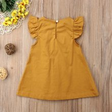 Baby Girls HOT Summer 2018 New Sale Two Colors Solid Fly Sleeve Brief Vintage Princess Dresses 0-3Y