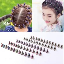 12 Pcs/Set Kids Rhinestone Hair Claws Hair Accessories Girls Hairpin Small Flowers Hair Clips Bangs for Children Random Colors