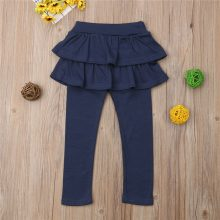 2-8Y Kids Girls Warm Cute Cake Culottes Leggings With Ruffle Tutu Skirt Pants Autumn Winter