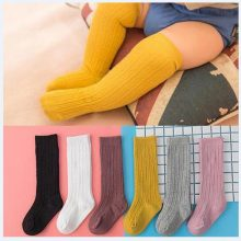 New Spring Summer Baby Girls Cotton Knee High Socks Solid Candy Color Kids Toddler Double Needle Short Socks For Children
