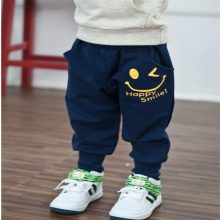 Hot Sale New 2018 Autumn Children Pants, Casual Pocket Boys Girls Smiling Faces Harem Pants, 1-9Y High Quality Kids' Trousers