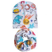 Baby Hat Set Warm Cotton Children Neck Scarf Spring Autumn Kids Girls Caps I Love Mama Papa Print Beanies Ring Collar 2PC Set