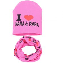 Baby Hat Set Warm Cotton Children Neck Scarf Spring Autumn Kids Girls Caps I Love Mama Papa Print Beanies Ring Collar 2PC Set