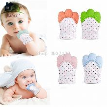 Baby Silicone Mitts Teething Mitten Glove Candy Wrapper Sound Teethers Toy Gifts Newborn Nursing Mittens Teether 1PCS