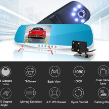 4.3″ 1080P car rearview mirror dvr car full HD 1080p car driving video recorder camera car reverse image dual lens Free shipping