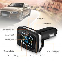 C100 Car Tire Pressure Monitoring System Cigarette Lighter Plug TPMS LCD Display Waterproof 4 External Sensors USB Charging