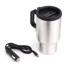 12V 450ML Stainless Steel Cup Kettle Travel Coffee Heated Mug Portable Electric Car Water Heater Kettle + Cigar Lighter Cable