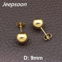 Wholesale Fashion Stainless Steel Jewelry  Gold &silver Ball Round Stud Earrings  For Woman & Girls & Man Jeepsoon EFFGAIBN