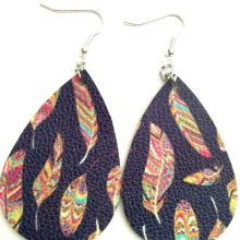 2018 New Leopard Feather metallic Earrings PU Leather Sequins Find Various MultiColors Dangle Earring