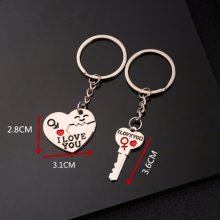 40 style Fashion Heart Key Ring Silver Color Lovers Love Key Chain Valentine's Day gift 1 Pair Couple I Love You Letter Keychain