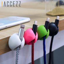 !ACCEZZ Cable Organizer Wire Winder For iPhone XS Micro USB Type C Headphone Holder Mouse Cord Silicone Clips Desktop Management