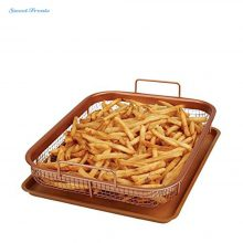Sweettreats Copper Crispy Tray Oven Air Fryer, Durable Mesh Basket With Reinforced Ceramic Coating Tray, Cook With No Oil
