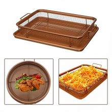 Copper Crispy Tray Oven Air Fryer, Durable Mesh Basket With Reinforced Colanders & Strainers Coating Tray, Cook With No Oil