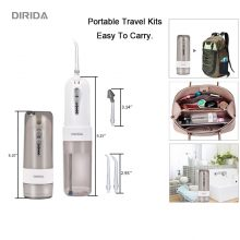 DIRIDA D1001 New Cordless Water Flosser Portable Fold Electric Oral Irrigator 200ml with 5 Jet Tips USB Recharging Tooth Cleaner