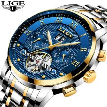 Relogio Masculino LIGE Mens Watches Top Brand Luxury Automatic Mechanical Watch Men Full Steel Business Waterproof Sport Watches