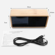 Bamboo Wooden Mirror Alarm Clocks Temperature Sounds Control Desktop Clock With Digital Watch Electronic LED Clocks Despertador
