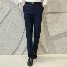 2017 Autumn Cotton Cloth Office Workwear Gentleman Pure Color Pants Pants Men Slim Business Pants Groom Wedding Dress Pants