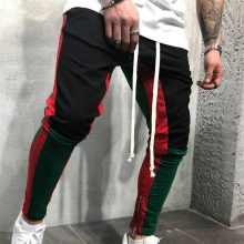 men patchwork pants zipper pencil pants casual trousers men joggers sweatpants elastic waist cotton male trousers hip hop pants
