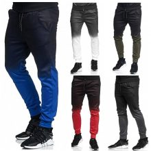 2018 Men's Gradient Jogger Pants Fashion Sports Workout Hip Hop Track Trousers Long Slacks casual mens slim trousers pants
