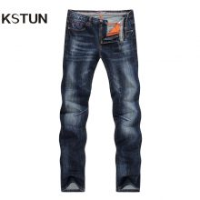 KSTUN New Arrivals Jeans Men Quality Brand Business Casual Male Denim Pants Straight Slim Fit Dark Blue Men's Trousers Yong Man