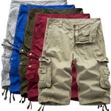 2017Men's Army Cargo Work Casual Bermuda Shorts Men Joggers Overall Homme Cotton Multi-pocket High Quality Loose Cargo Shorts 38