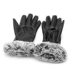 Women Touch Screen Leather Gloves Autumn Winter Warm Rabbit Fur Mittens Black