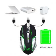 Rechargeable T1 Wireless Silent LED Backlit USB Optical Ergonomic Gaming Mouse LOL Gaming Mouse Surfing The Mouse # ZC