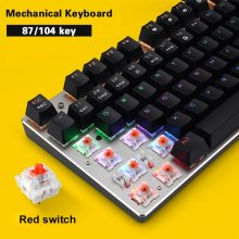 NEW Metoo Mechanical Keyboard 87/104 Anti-ghosting Luminous Blue Black Switch LED Backlit wired Gaming Keyboard Russian stickers