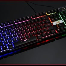 Waterproof Backlight Effect Colorful Crack LED Illuminated Backlit USB Wired PC Rainbow Gaming Keyboard#ZS