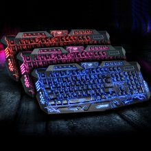 Tri-Color Backlit Computer Gaming Keyboard Teclado USB Powered Full N-Key Game Keyboard for Desktop Laptop Russian sticker