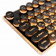 Steampunk Retro Gaming Keyboard Russian/English Layout Round Keycap Backlit USB Wired Glowing Metal Panel Crystal Border